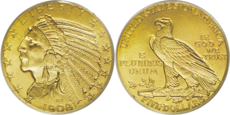 five dollar gold indian